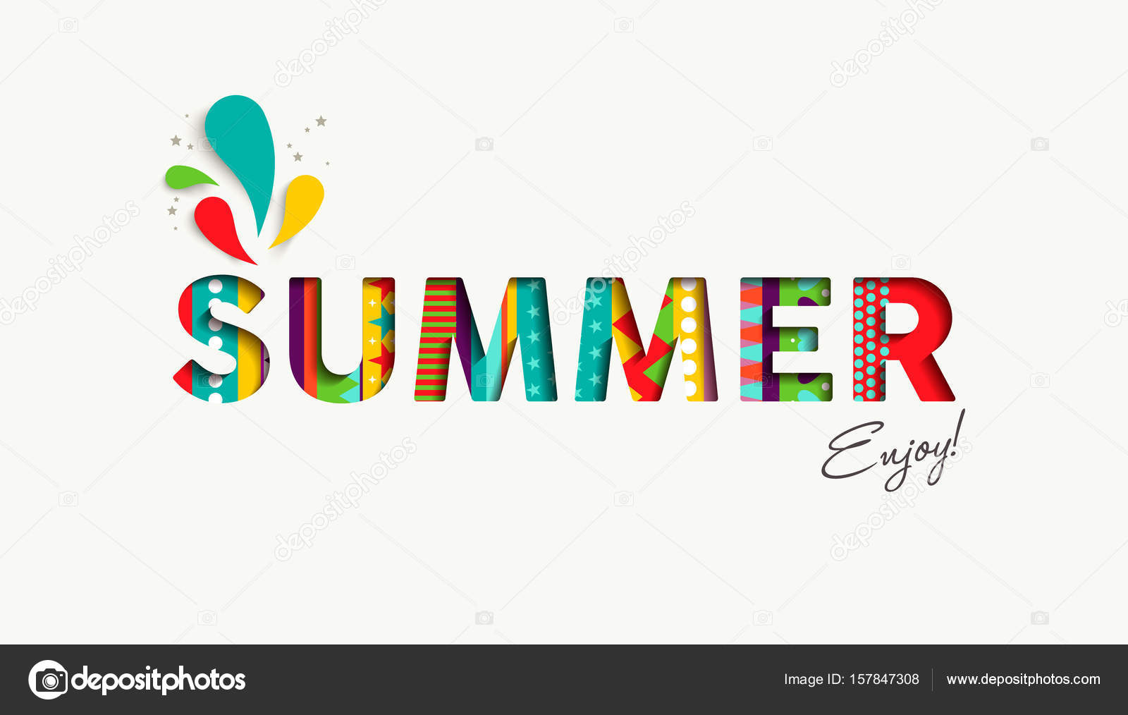Summer Vacation Color Quote Paper Cut Fun Text Stock