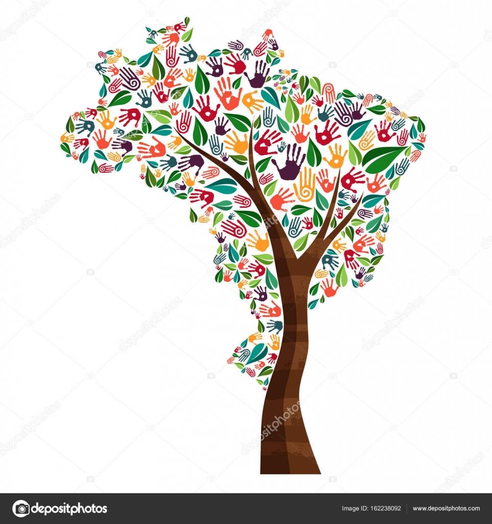 Brazil hand print tree symbol for world help stock vector brazil hand print tree symbol for world help stock vector biocorpaavc