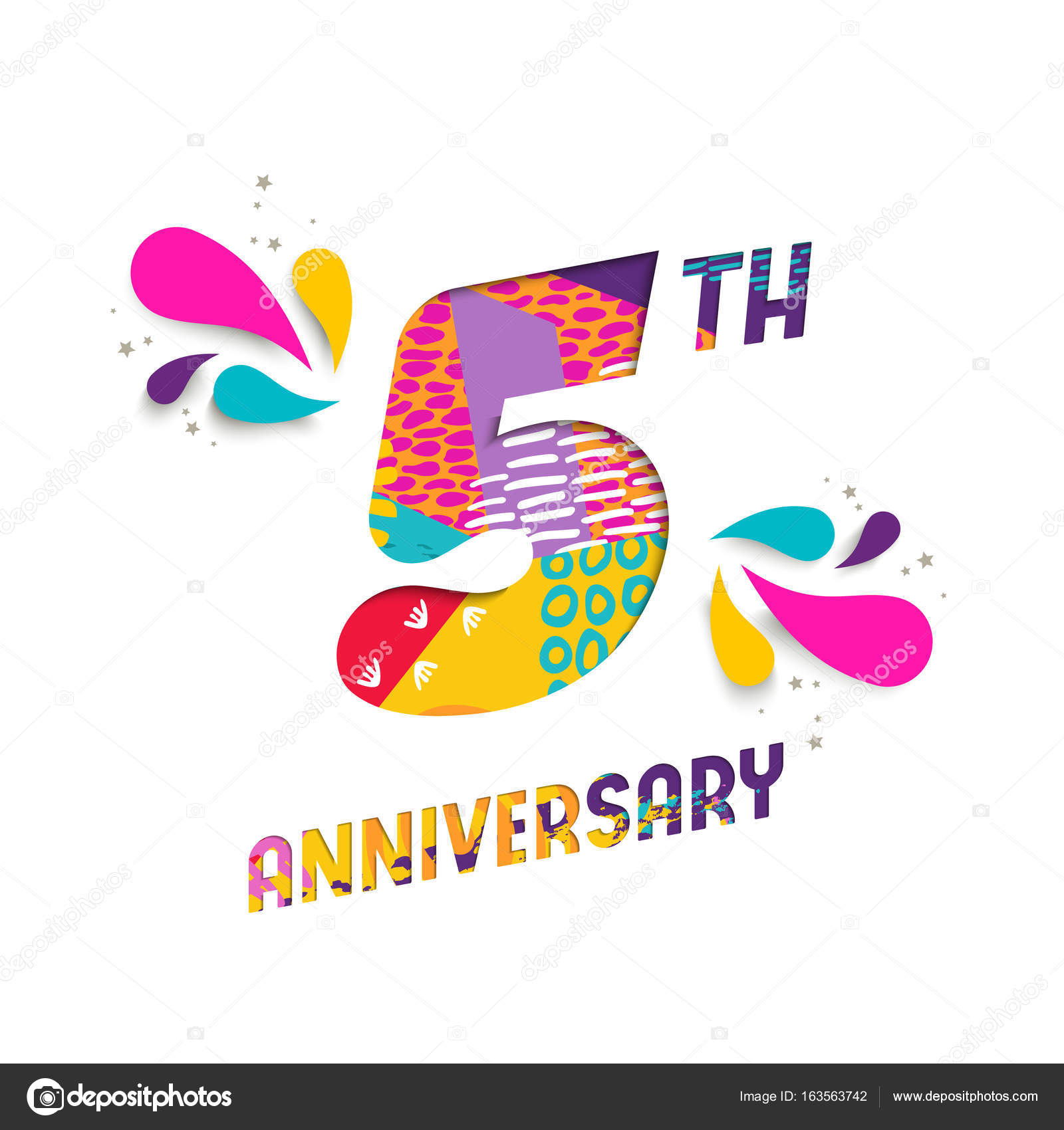 Happy 5 year anniversary paper cut greeting card stock vector happy 5 year anniversary paper cut greeting card stock vector biocorpaavc Choice Image