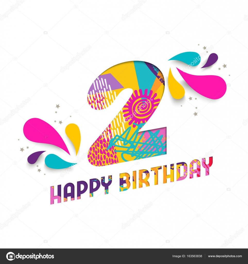 Gelukkige Verjaardag 2 Twee Jaar Papier Gesneden Wenskaart