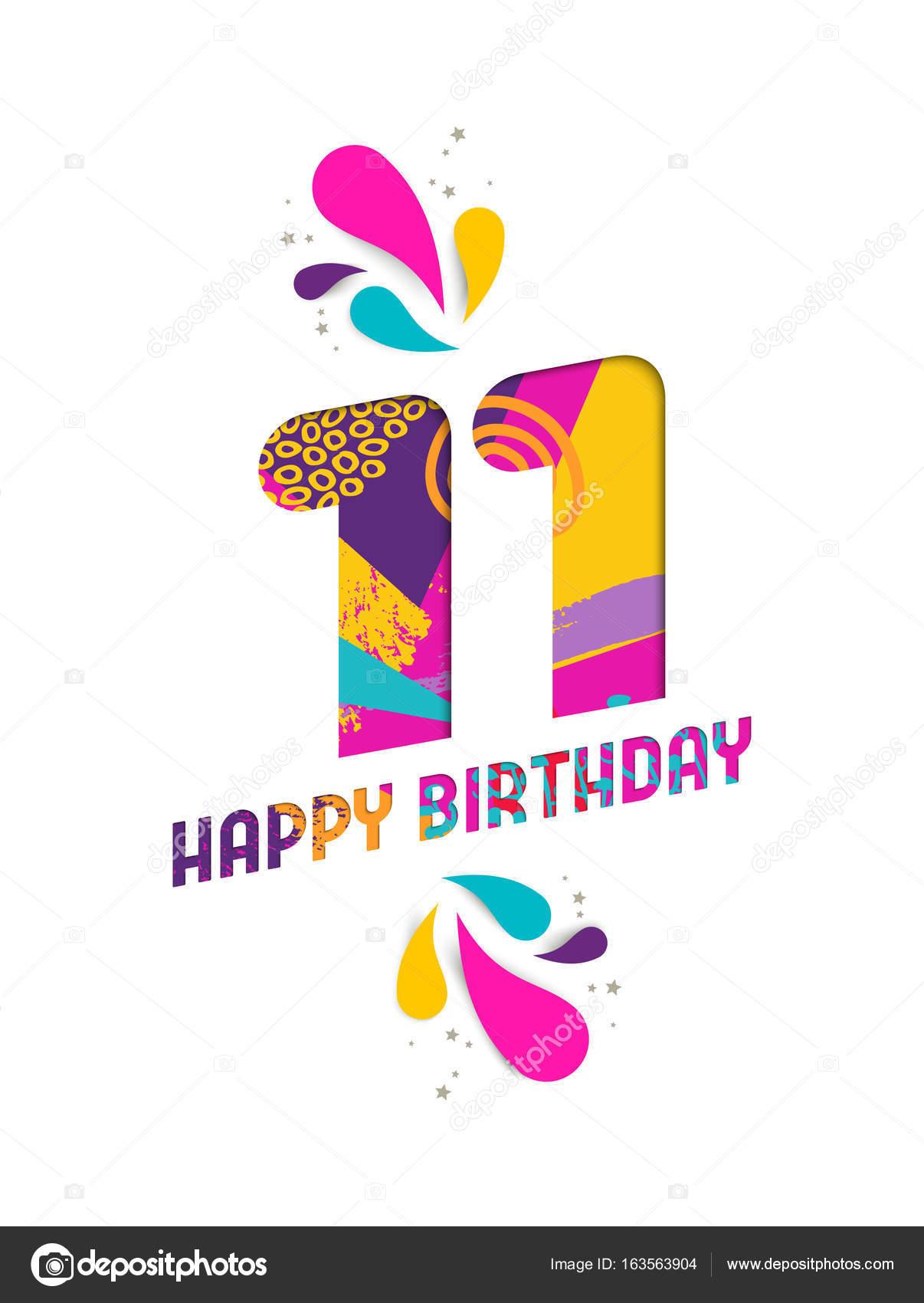 verjaardag 11 jaar Gelukkige verjaardag 11 jaar papier knippen wenskaart  verjaardag 11 jaar