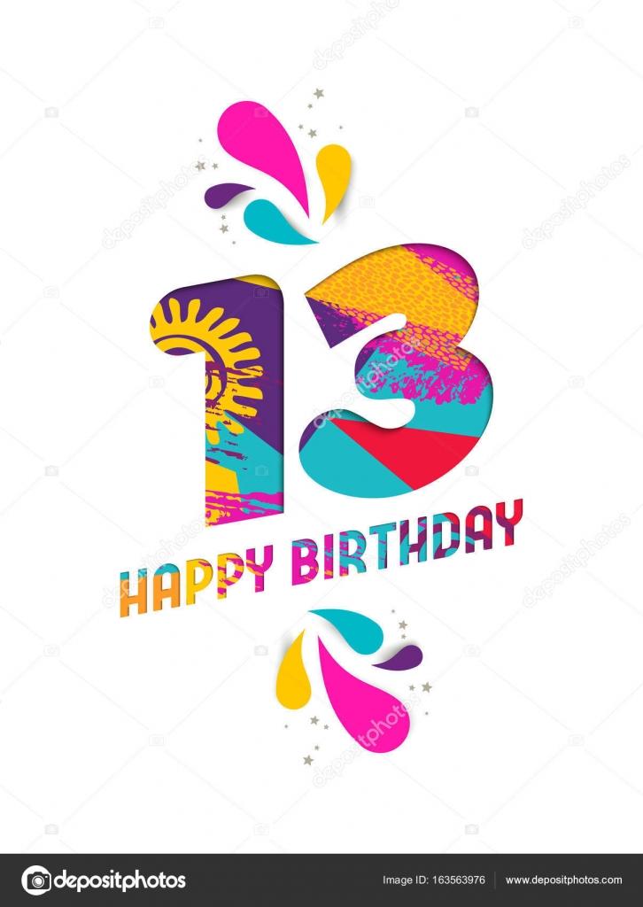 13 år grattis Grattis på födelsedagen 13 år papper skära gratulationskort  13 år grattis
