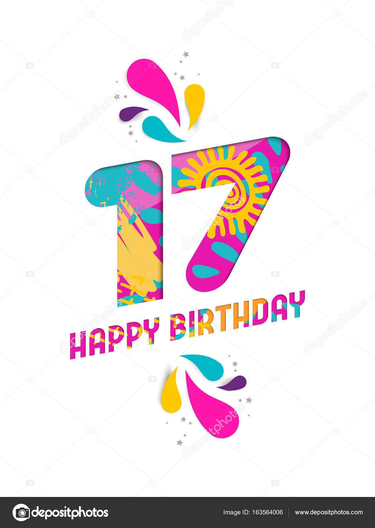 boldog 17 születésnapot Boldog születésnapot 17 éves papír vágott üdvözlőlap — Stock  boldog 17 születésnapot