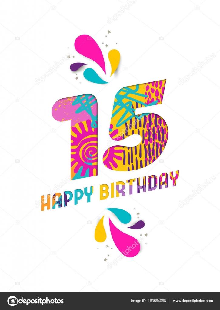 grattis på 15 årsdagen Grattis på födelsedagen 15 år papper skära gratulationskort  grattis på 15 årsdagen