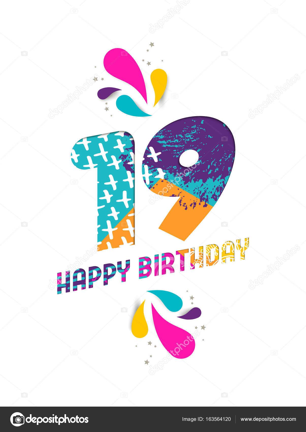 přání k 19 narozeninám Všechno nejlepší k narozeninám 19 rok papír řez blahopřání — Stock  přání k 19 narozeninám