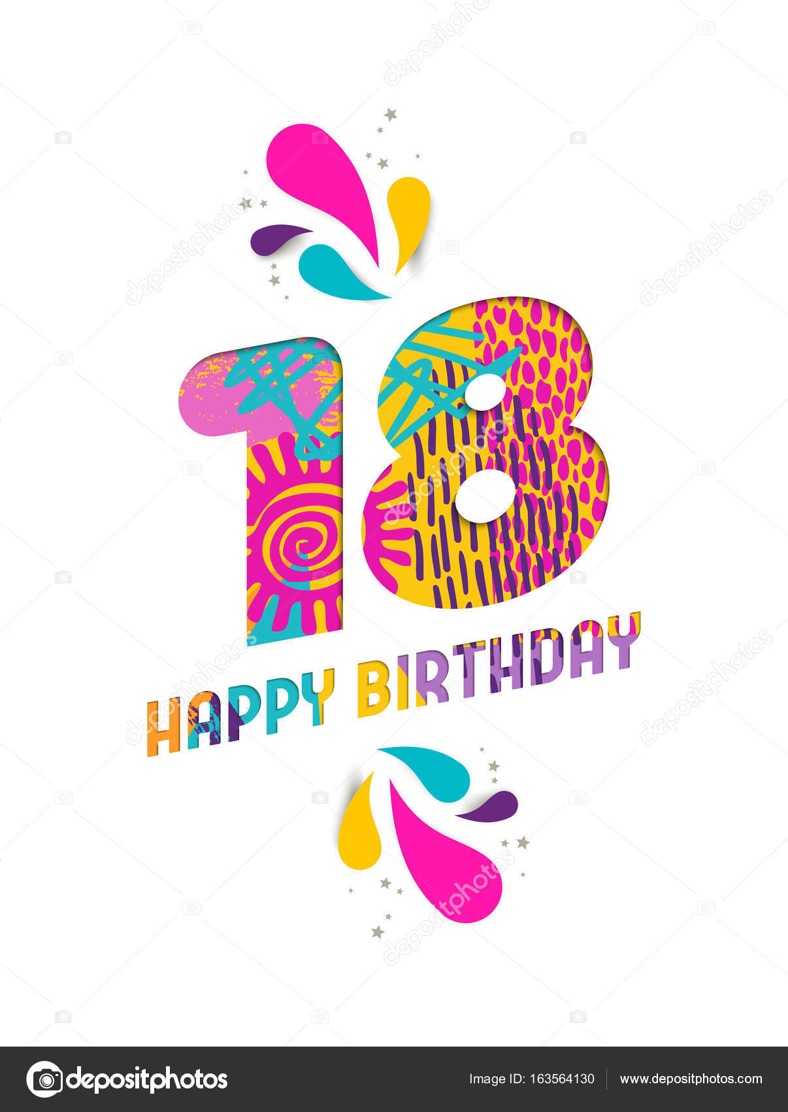 grattis på födelsedagen 18 år Grattis på födelsedagen 18 år papper skära gratulationskort  grattis på födelsedagen 18 år