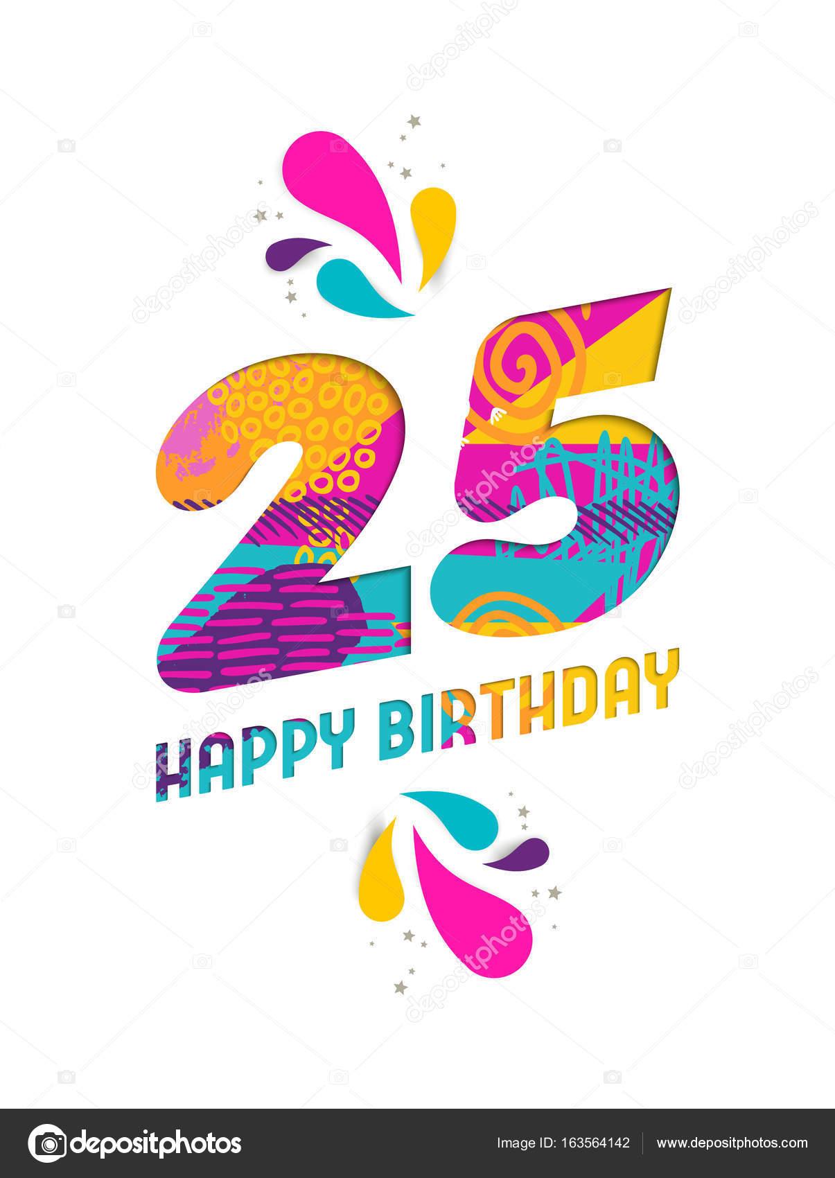 Gelukkige Verjaardag 25 Jaar Papier Knippen Wenskaart Stockvector