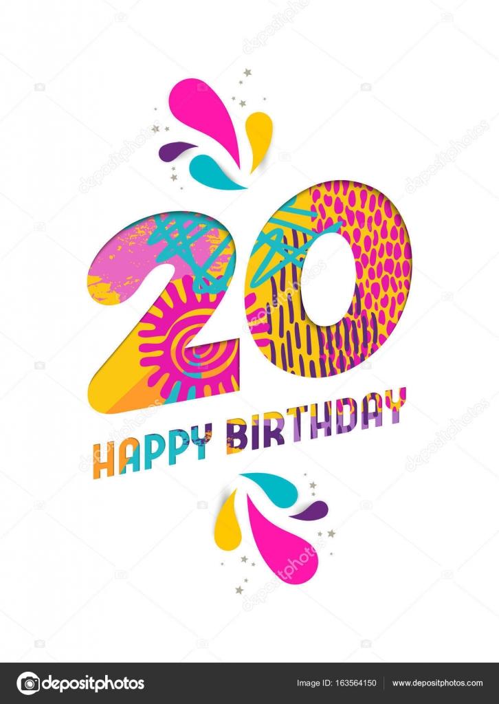 gefeliciteerd 20 jaar Gelukkige verjaardag 20 jaar papier knippen wenskaart  gefeliciteerd 20 jaar