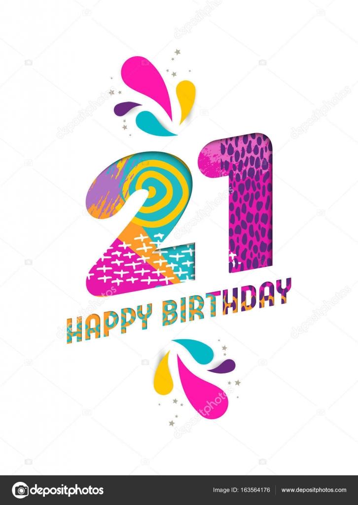 Gelukkige Verjaardag 21 Jaar Papier Knippen Wenskaart Stockvector
