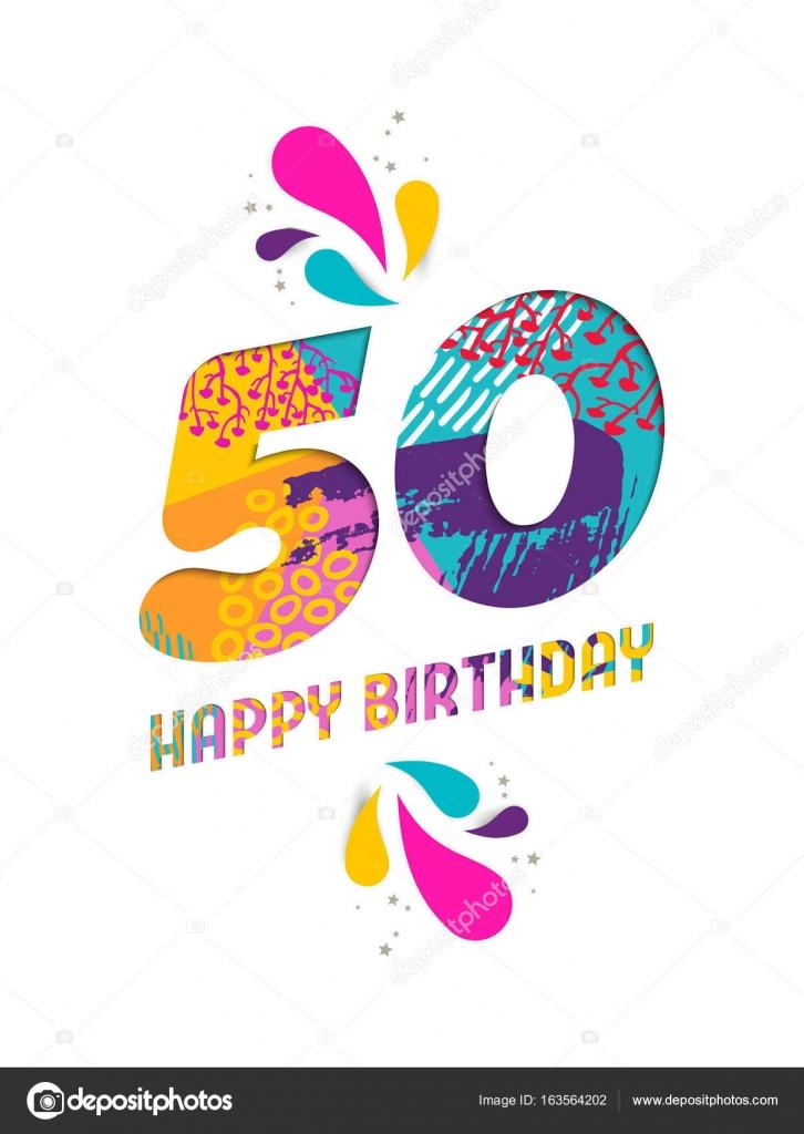Cartolina D Auguri Del Taglio Della Carta Di Buon Compleanno 50 Anni