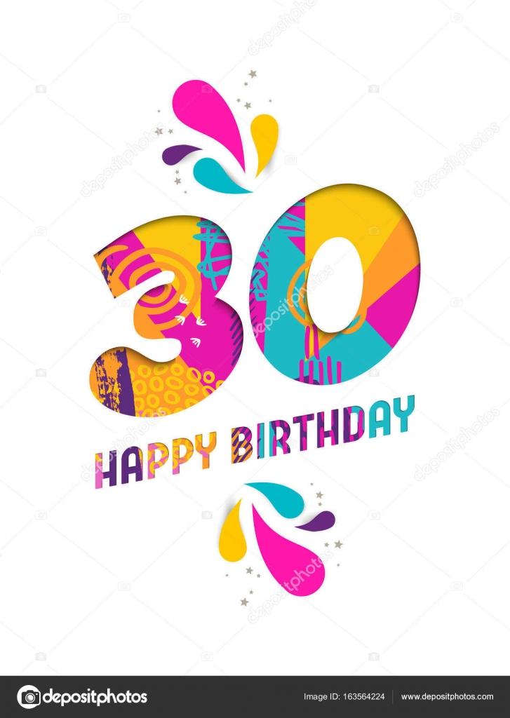 grattis 30 årsdagen Grattis på födelsedagen 30 år papper skära gratulationskort  grattis 30 årsdagen