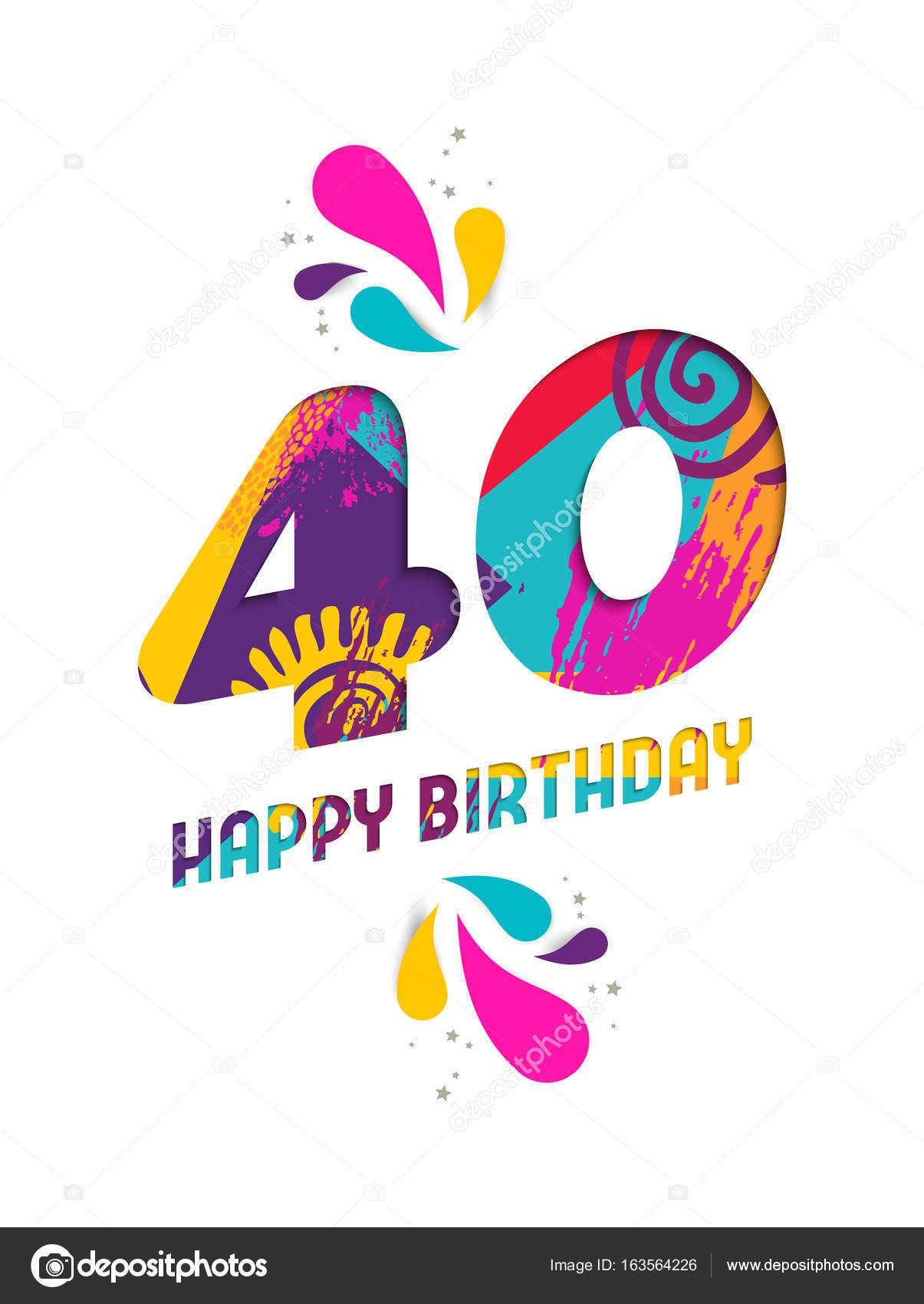 grattis på födelsedagen text 40 år Grattis på födelsedagen 40 år papper skära gratulationskort  grattis på födelsedagen text 40 år