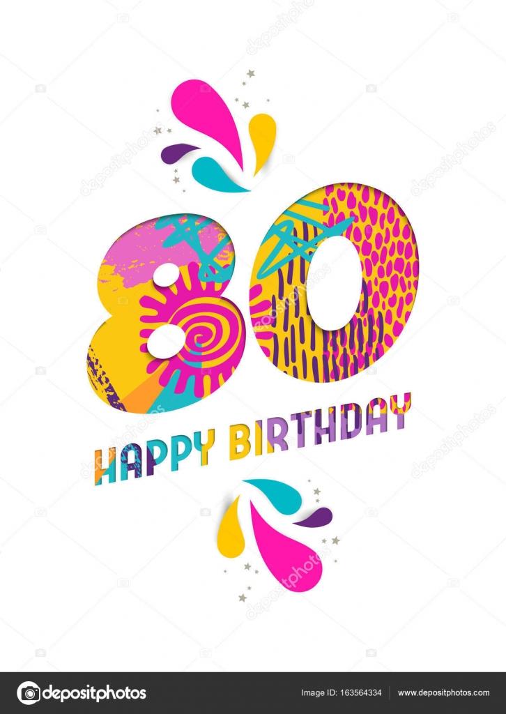 Vaak Gelukkige verjaardag 80 jaar papier knippen wenskaart  @AZ69