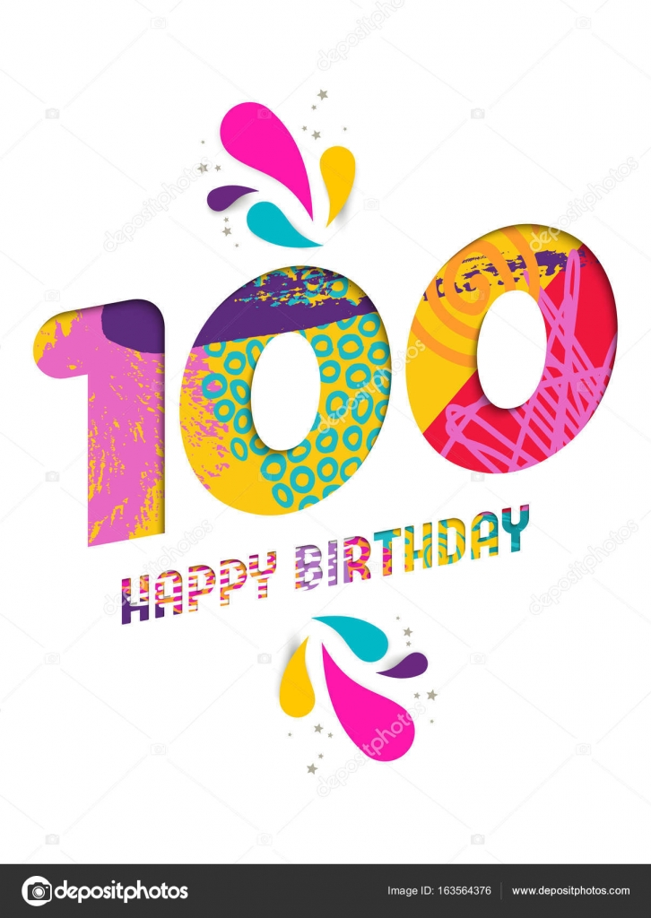 Happy Birthday 100 Year Paper Cut Greeting Card Stock Vector