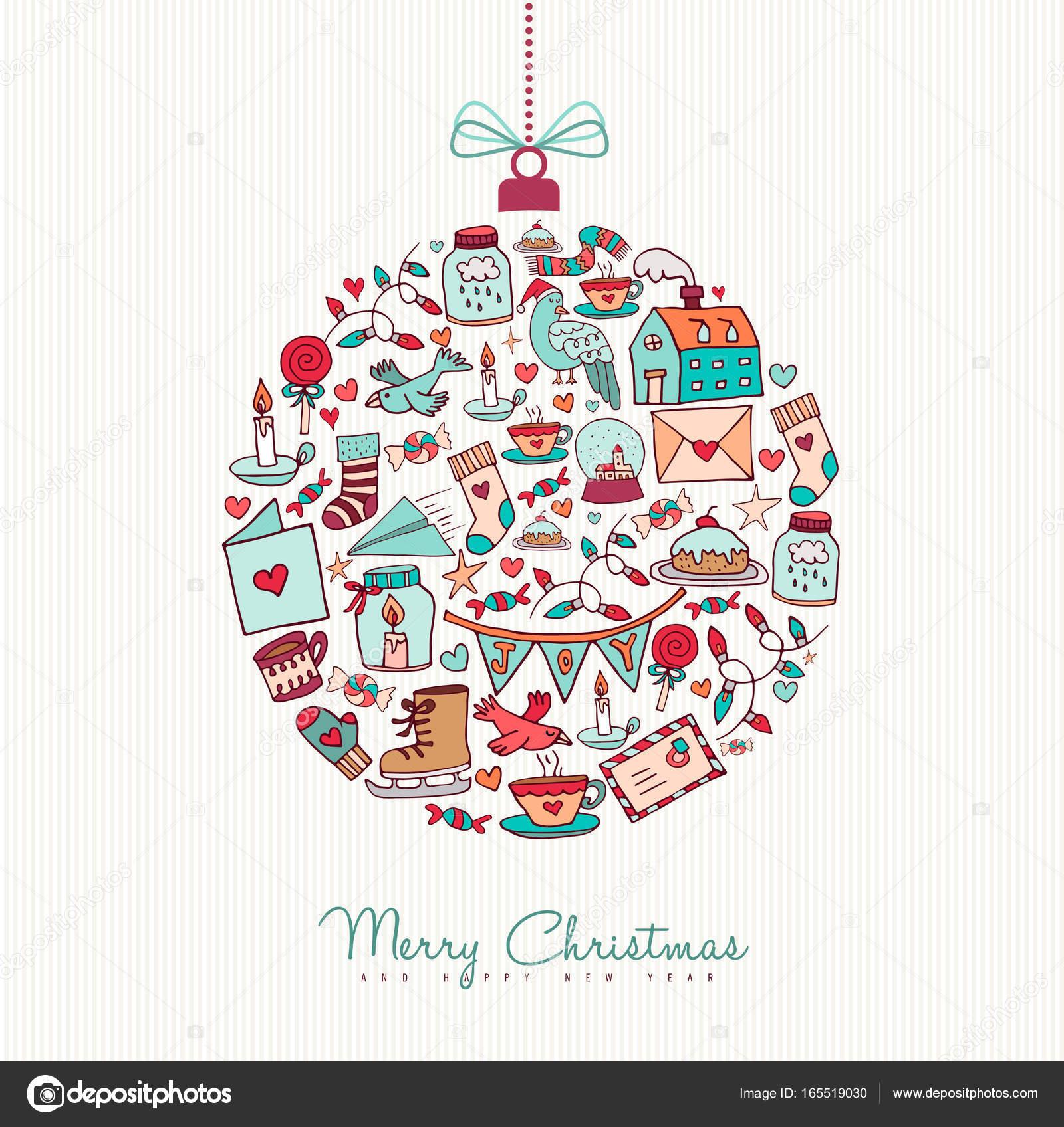 Weihnachten und Neujahr Doodle-Symbol-Dekoration — Stockvektor ...
