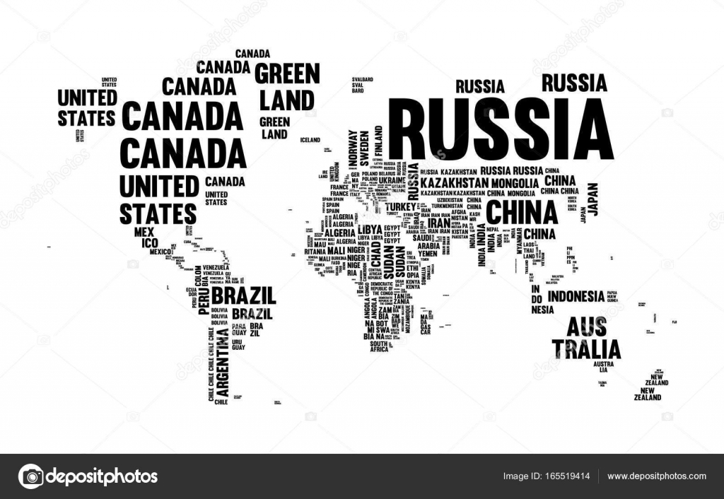 Text country name world map typography design stock vector typography world map made of every country name in black and white concept text atlas design with continent shapes eps10 vector vector by cienpies gumiabroncs Image collections