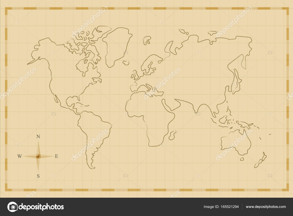 vintage world map old hand drawn illustration art stock vector