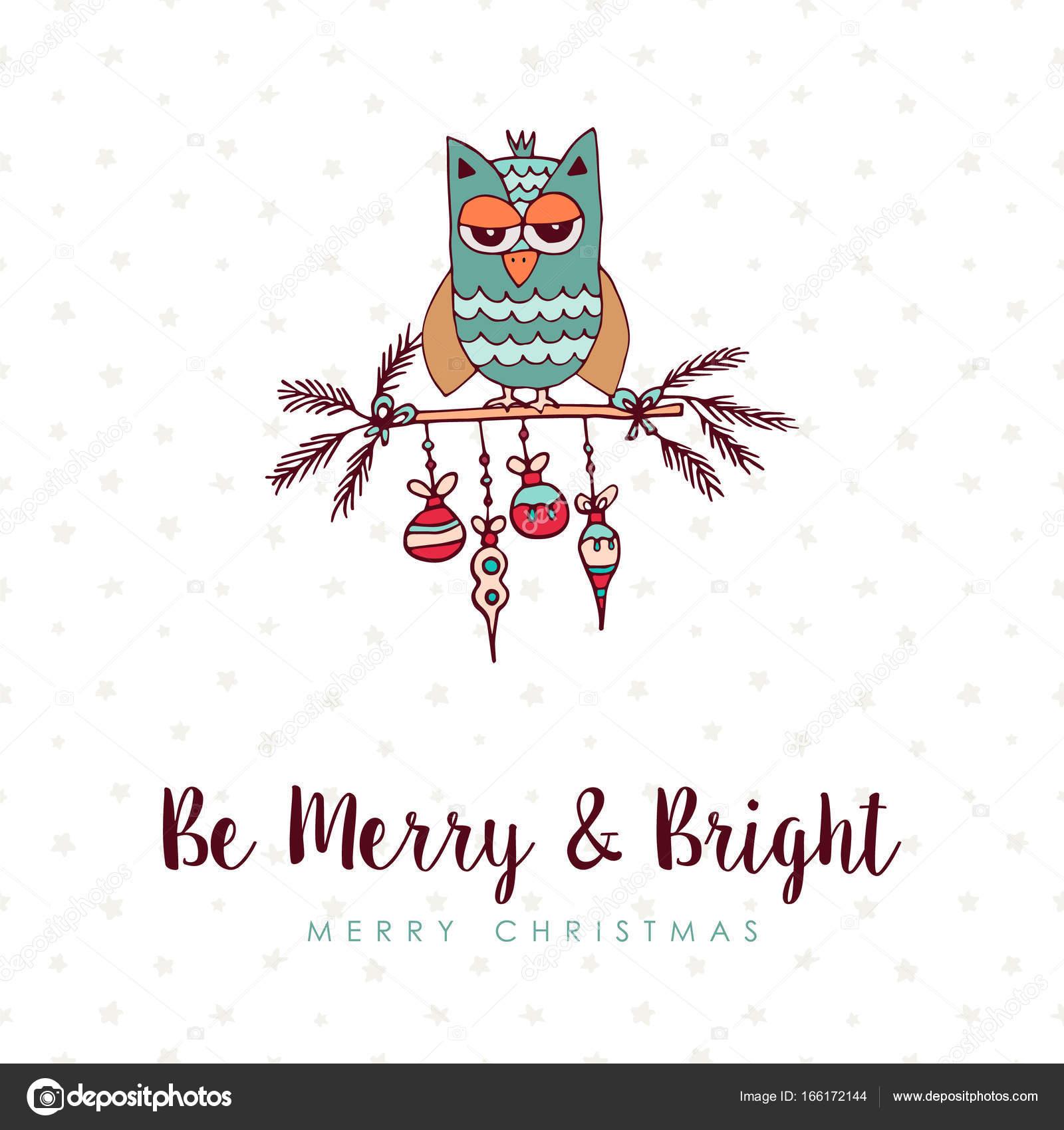 Christmas decoration bauble cute owl cartoon card — Stock Vector ...