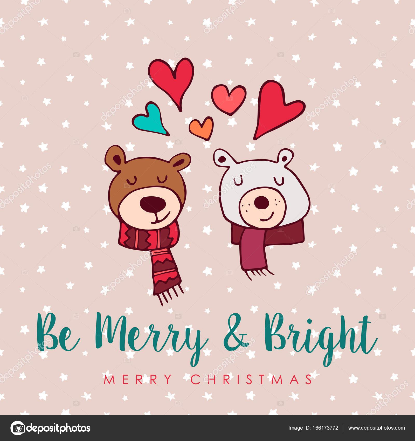 Christmas Cute Holiday Love Bears Cartoon Card Stock Vector