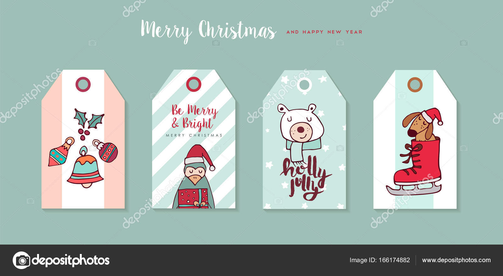 merry christmas happy new year hand drawn label tag set includes funny cartoon puppy bear holiday decoration and typography quotes eps10 vector