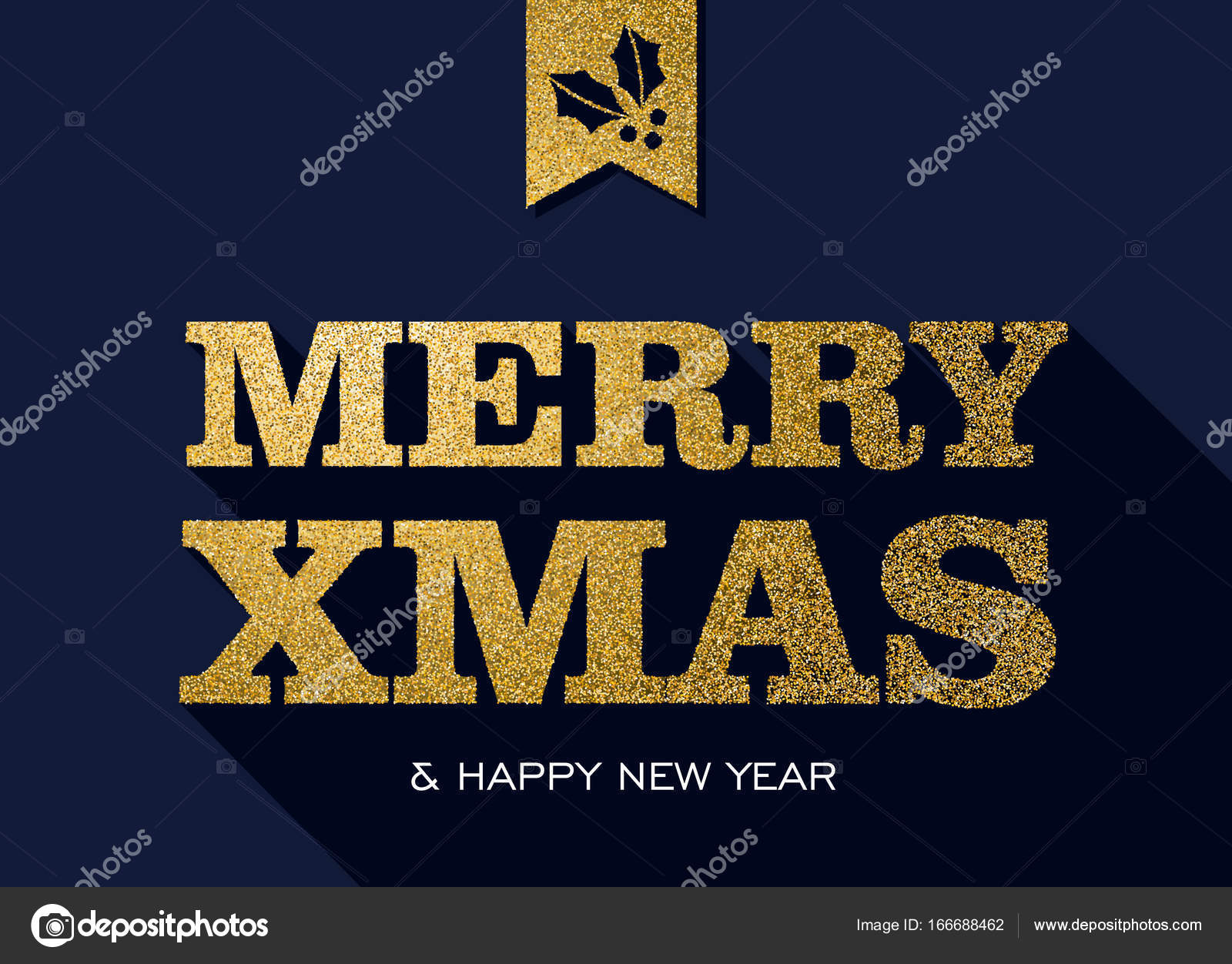 Christmas And New Year Gold Glitter Message Quote Stock Vector
