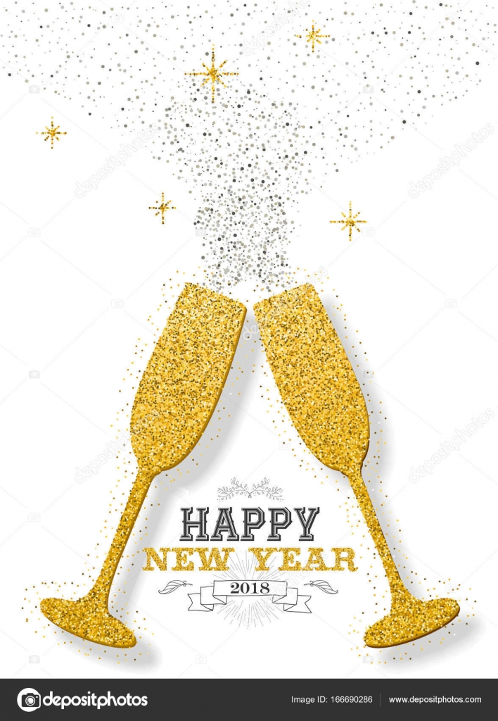 happy new year 2018 luxury gold celebration toast made of golden glitter dust ideal for greeting card or elegant holiday party invitation eps10 vector