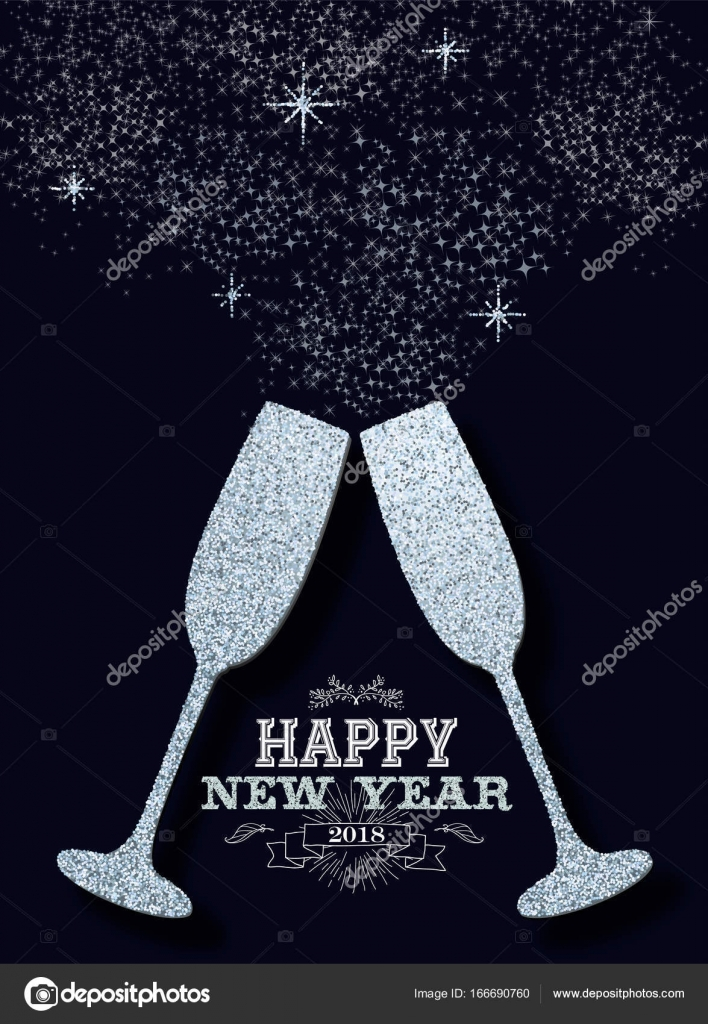 New year 2018 party silver glitter greeting card stock vector happy new year 2018 luxury celebration toast made of silver glitter sparkle dust ideal for greeting card or elegant holiday party invitation eps10 vector stopboris Choice Image