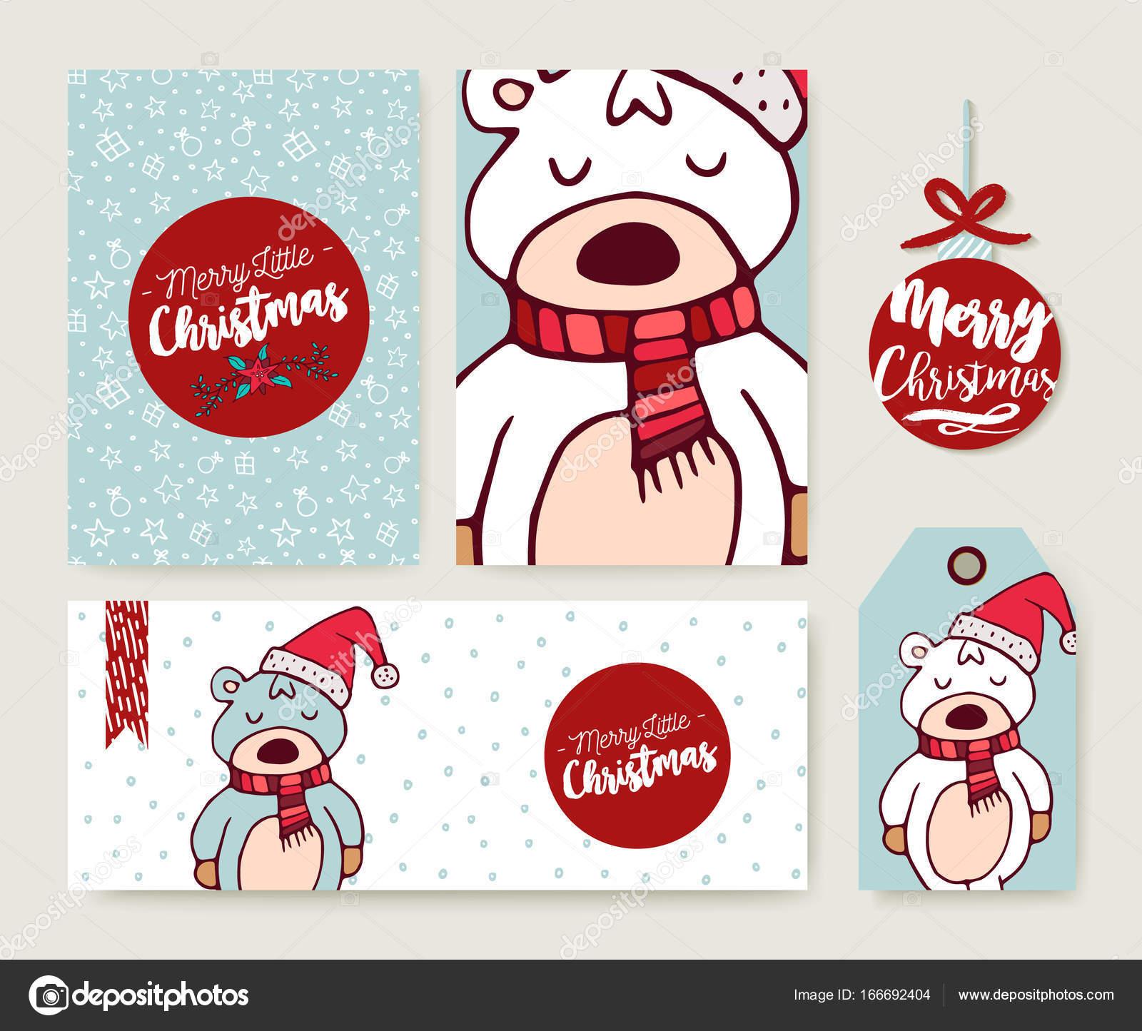 Tarjeta de Navidad set holiday oso dibujos animados plantilla ...