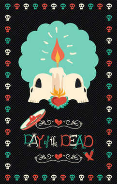Day of the dead hand drawn sugar skull poster art