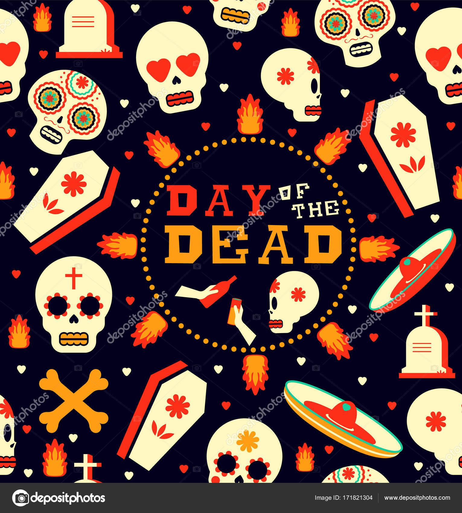Mexican Day Of The Dead Seamless Pattern Art Sugar Skull Emoji With Traditional Decoration Includes Mariachi Hat Fire And Grave Icons EPS10 Vector