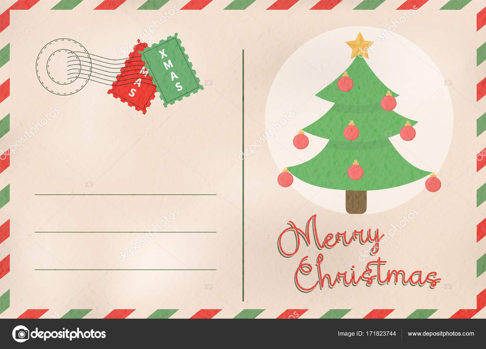 Feliz Postales De Vacaciones Navidad Retro Pino árbol