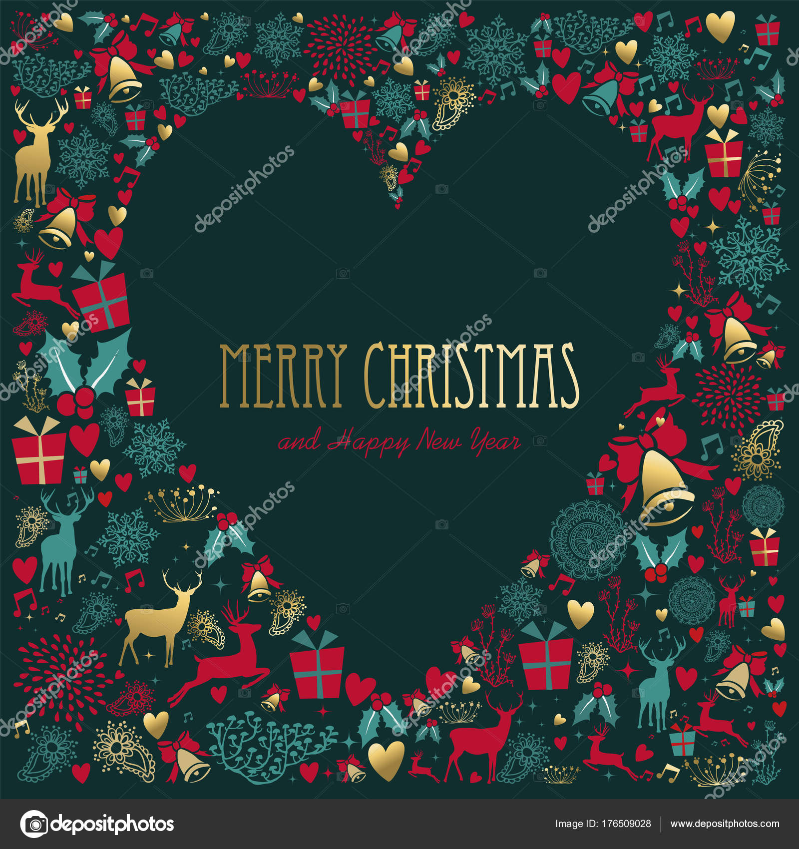 christmas and new year gold holiday love card stock vector