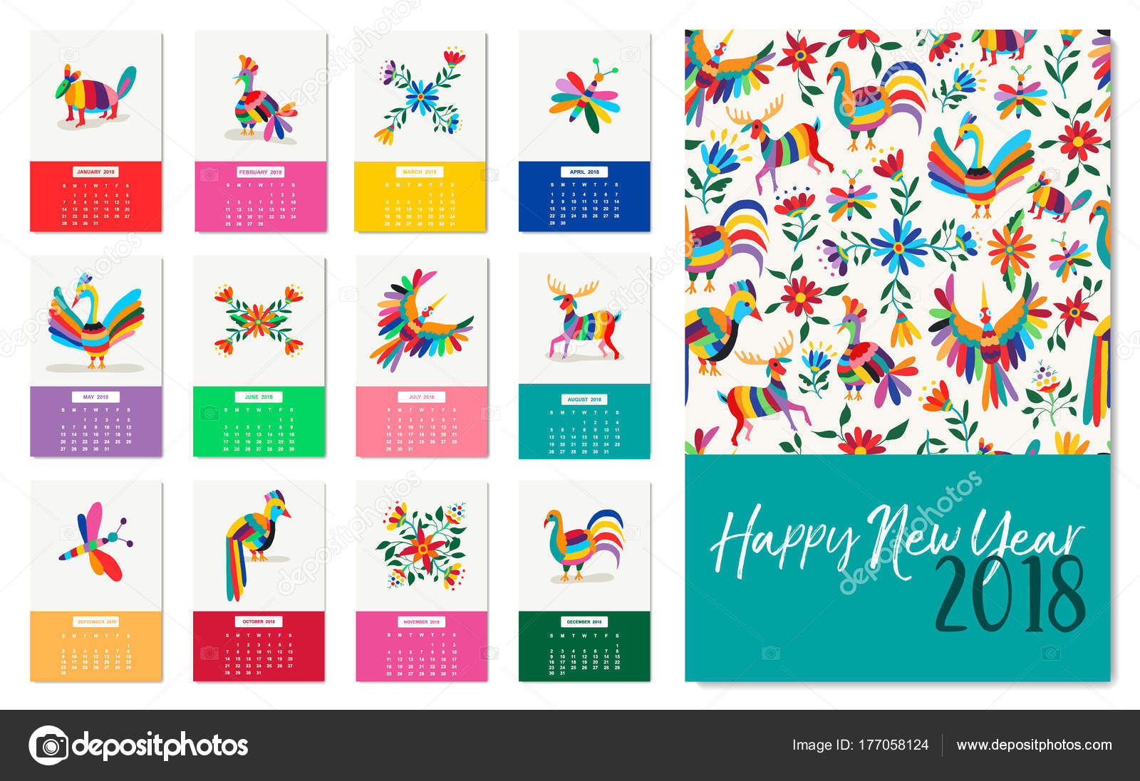 new year 2018 colorful mexican animal art calendar stock vector