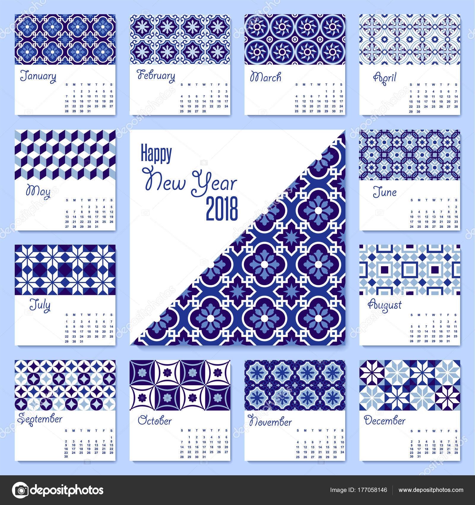 Plantilla de calendario de azulejo de mosaico azul año nuevo 2018 ...