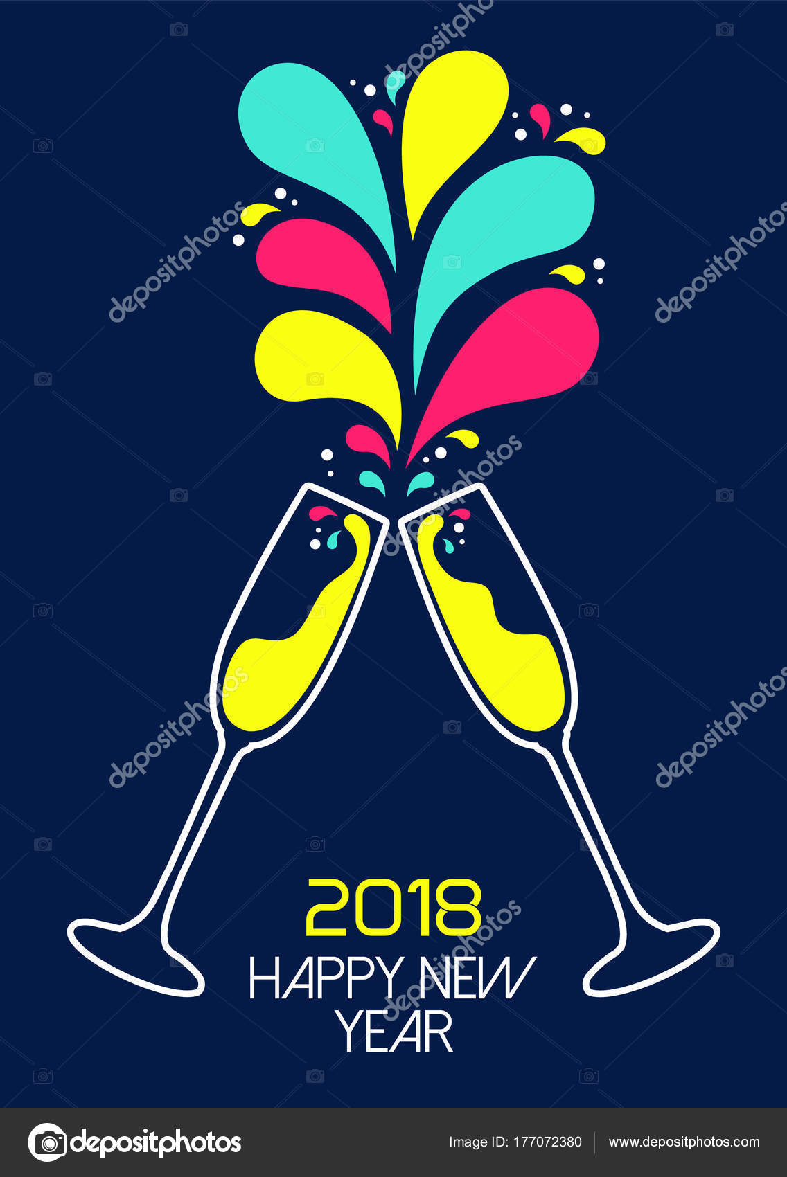 new year 2018 colorful party drink toast card stock vector 177072380