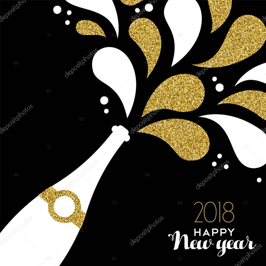 happy new year 2018 gold glitter bottle splash