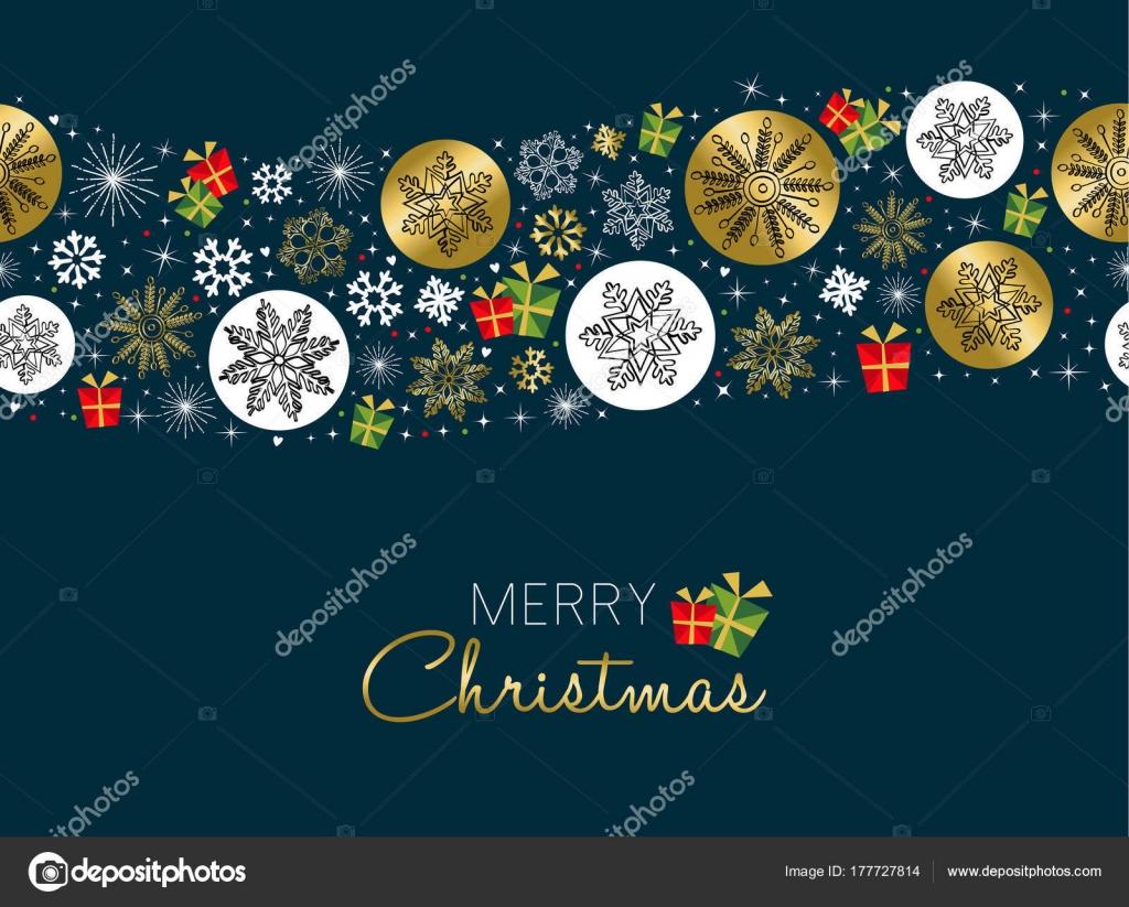 Frohe Weihnachten gold Schneeflocke Muster Winterkarte — Stockvektor ...