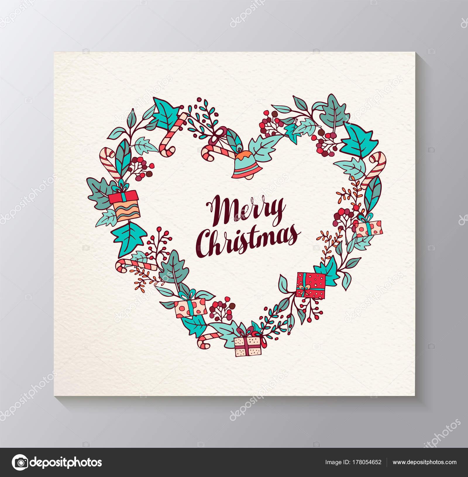 Frohe Weihnachten Liebe.Frohe Weihnachten Liebe Geformt Kranz Grusskarte