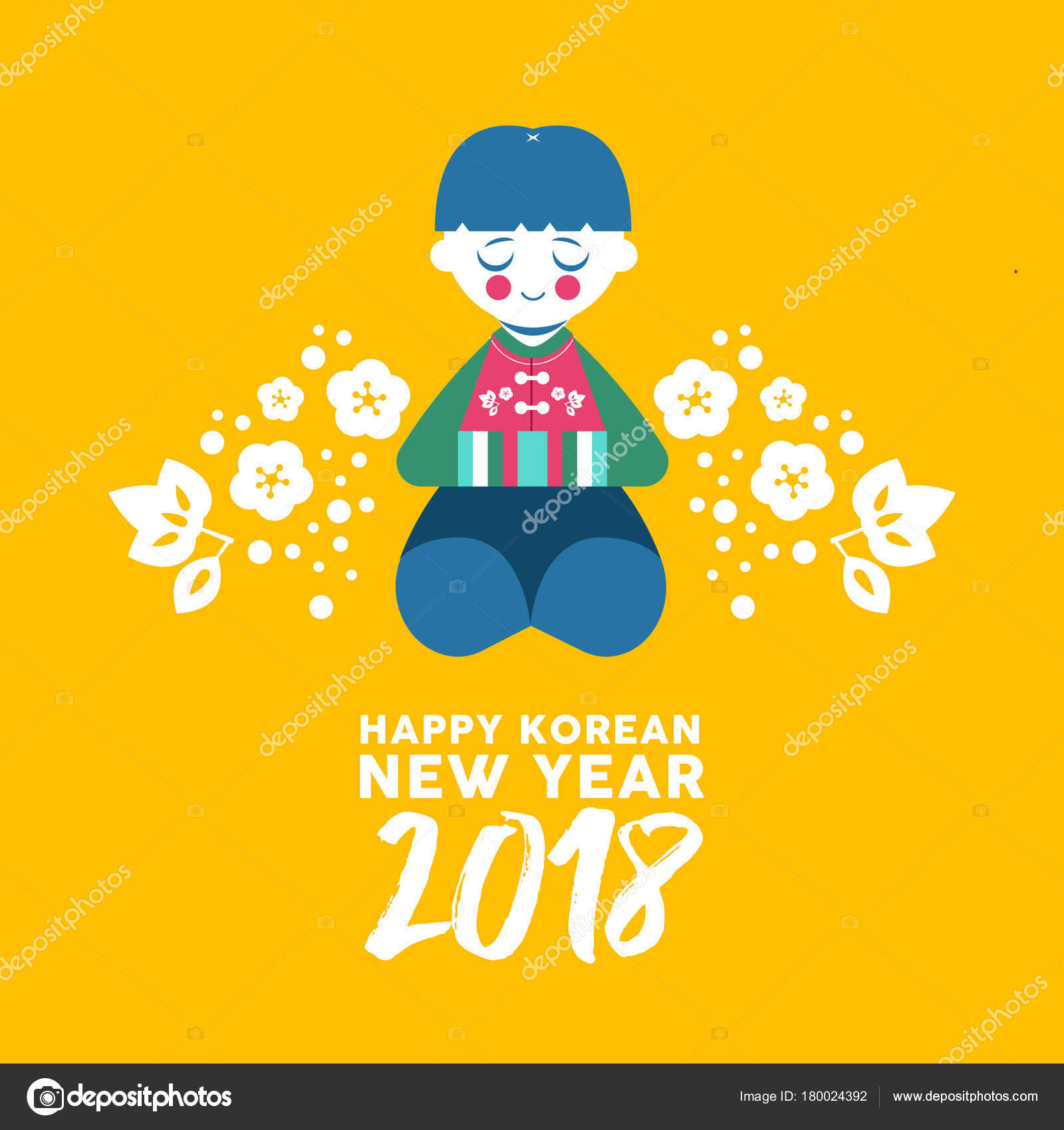 Happy korean new year 2018 greeting card cute boy bowing stock happy korean new year 2018 greeting card cute boy bowing stock vector m4hsunfo
