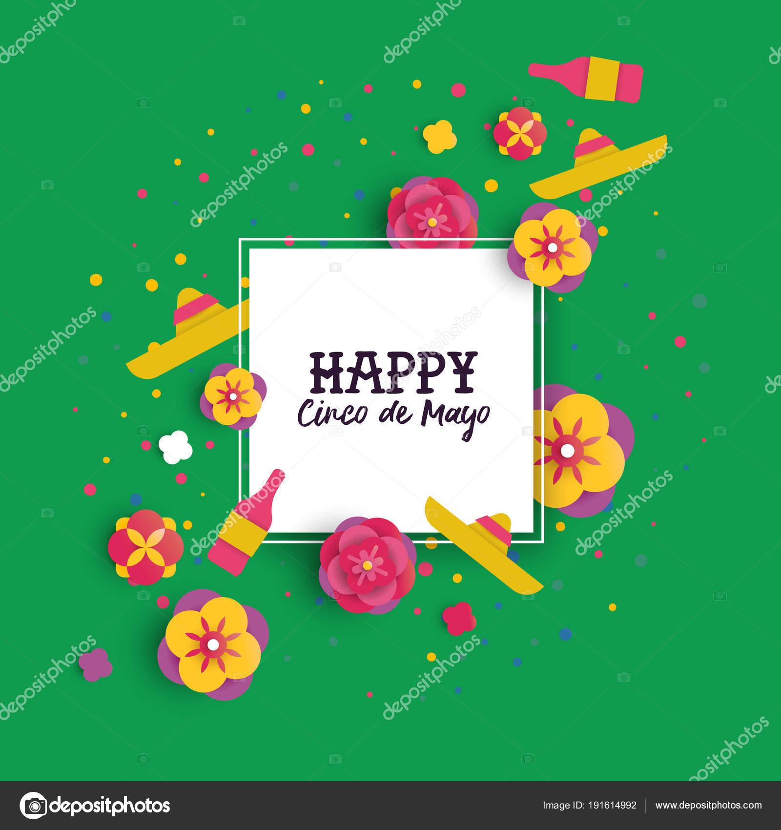 Cinco de Mayo papel cortar flor marco tarjetas de felicitación ...