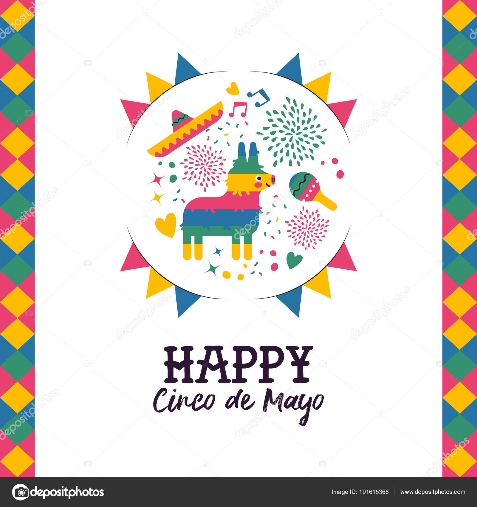 Cinco de mayo hand drawn pinata greeting card stock vector happy cinco de mayo greeting card illustration festive mexican hand drawn decoration includes cute donkey pinata mariachi hat and maracas eps10 vector m4hsunfo