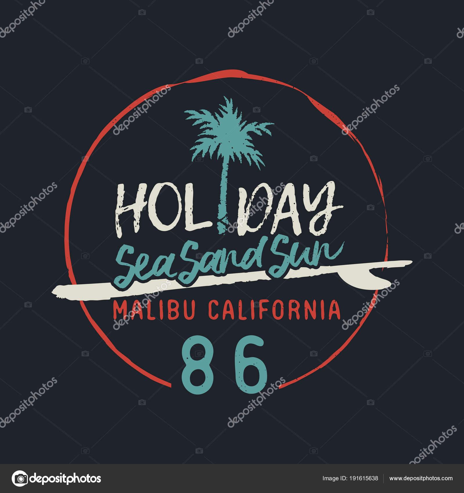 Malibu California Vintage Surf Club Text Label Stock Vector