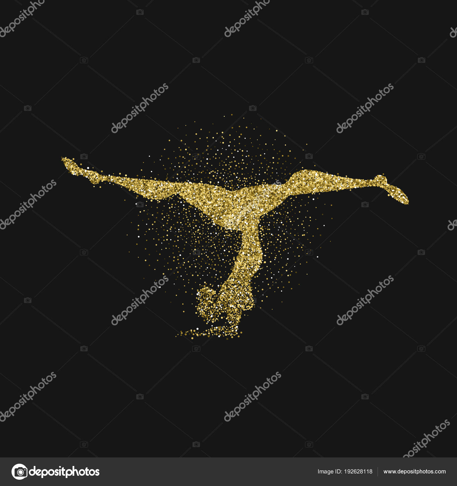 Yoga Pose Silhouette Made Of Gold Glitter Dust On Black Background Golden Color Girl Doing Meditation Exercise EPS10 Vector By Cienpies