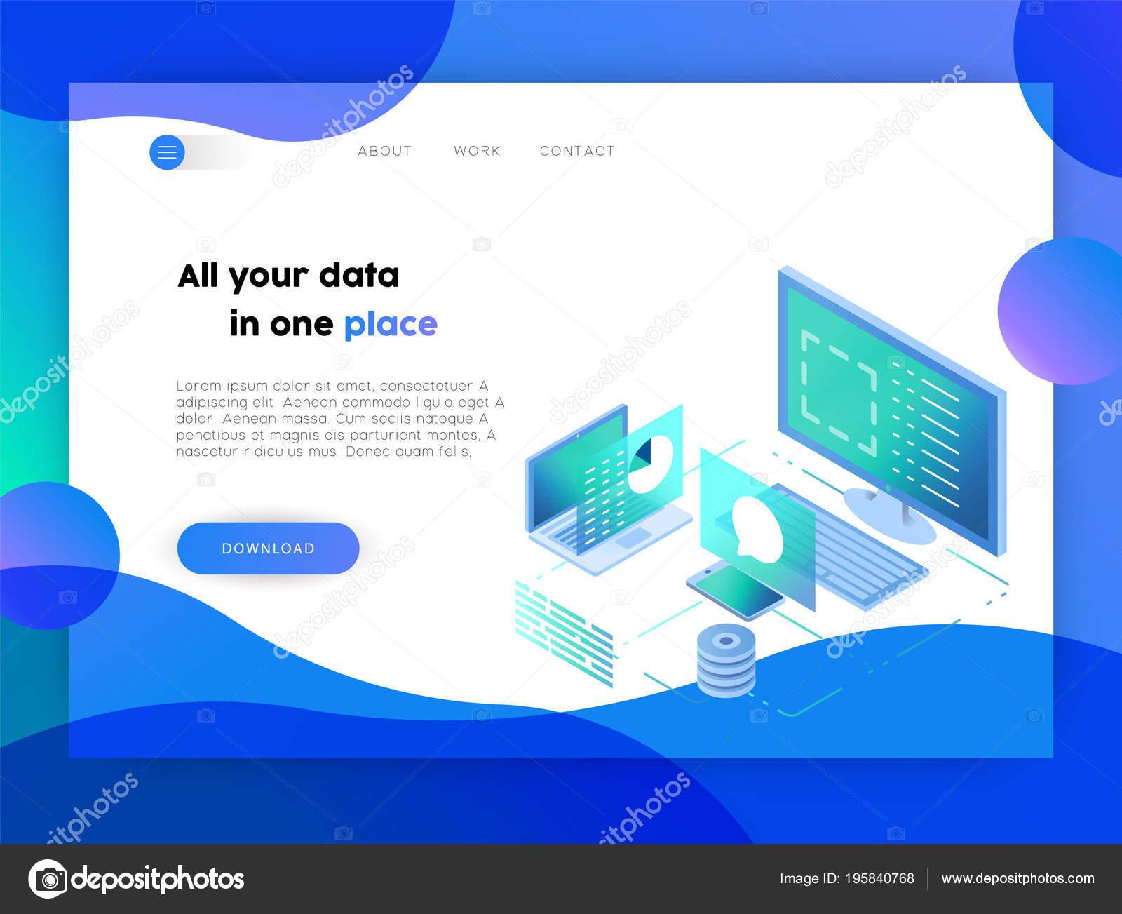 Plantilla Página Aterrizaje Negocios Web Diseño Tecnología Línea Con ...