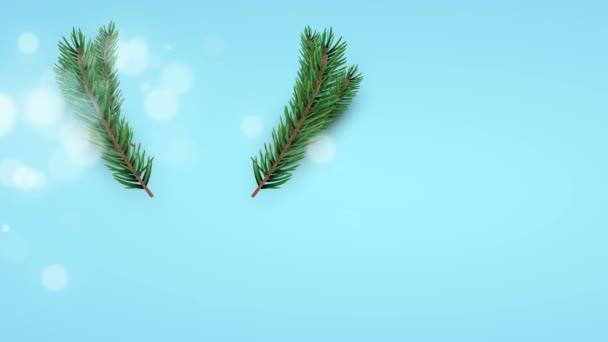 Veselé Vánoce animace 3d vánoční ozdoby a borovice dělat červený nos jelena tvaru. Koncepce sobí pozadí nebo video karta pro oslavu akce. Záběry z dovolené 4k.