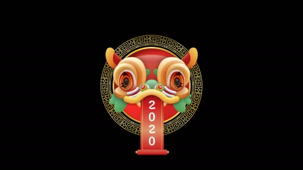 Festive chinese dance dragon mask on transparent alpha channel and white mate isolated background. New year 2020 traditional culture decoration for festival event intro or seasons greetings.