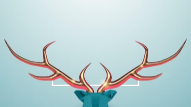 Boldog Karácsonyt Újévet animáció elvont alacsony poli rénszarvas réz agancsokkal, mozgás grafika ünnepi intro háttér. Elegáns karácsonyi videó üdvözlőkártya a szezon eseményre. 4k nyaralás felvételek.