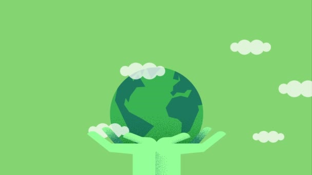 Green people hands holding planet earth, eco friendly tree leaf and sky clouds. Environment care concept cartoon animation with copy space 4k footage.