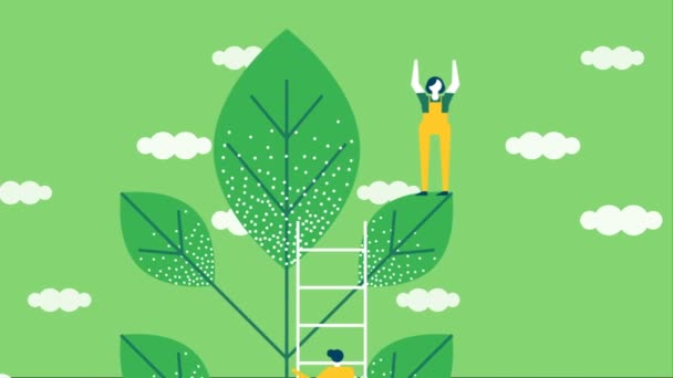 Diverse people team planting green tree leaf with sky clouds background. Eco friendly event concept of 4k cartoon animation footage.