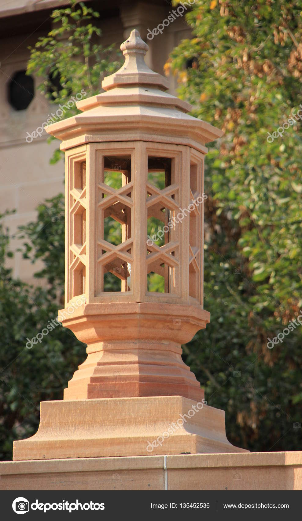 Carved Stone Lamp Post — Stock Photo © mcmorabad #135452536 for Stone Lamp Post  29jwn